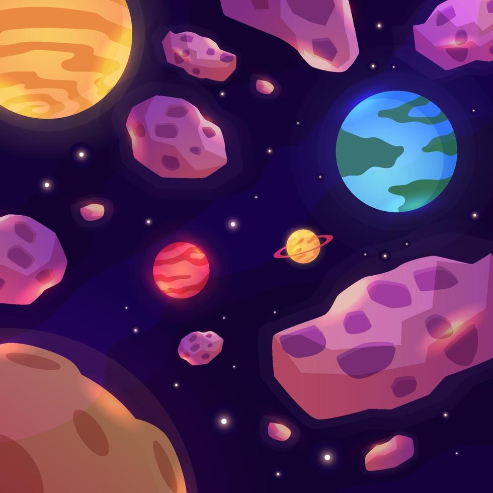 Space Meteor Cartoon Style vector