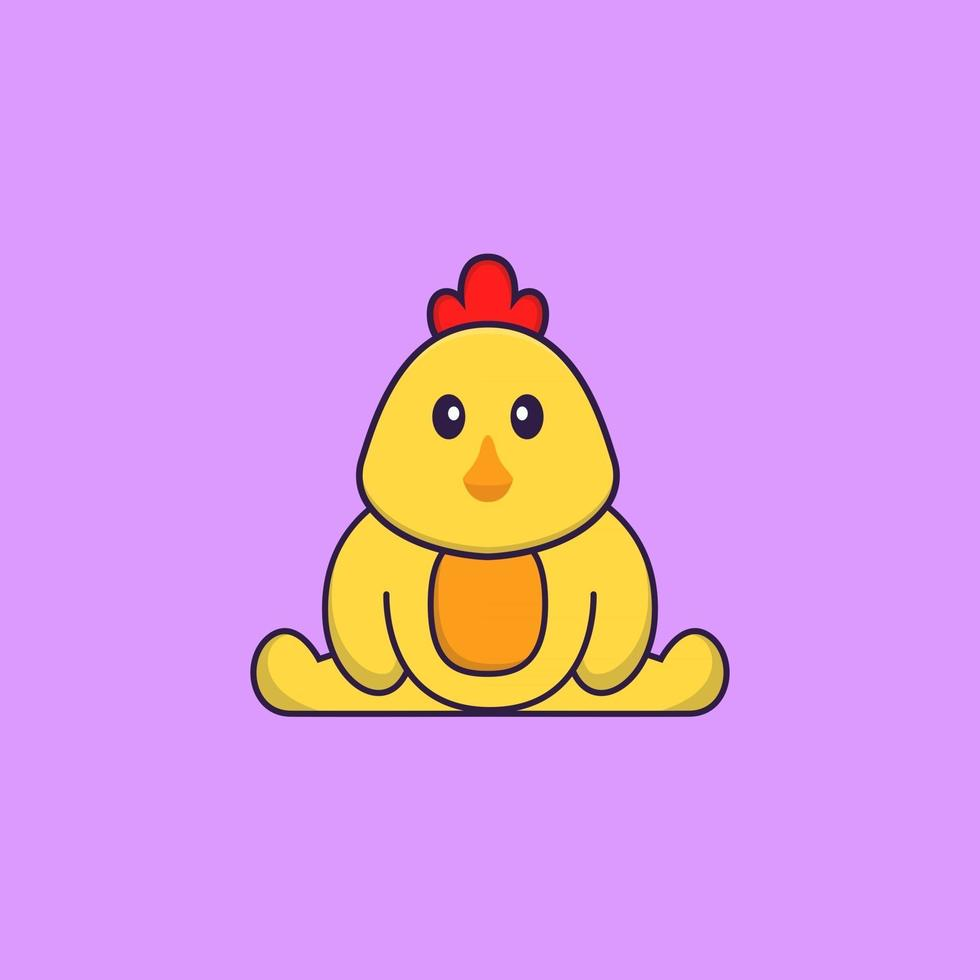 Cute chicken is sitting. Animal cartoon concept isolated. Can used for t-shirt, greeting card, invitation card or mascot. Flat Cartoon Style vector