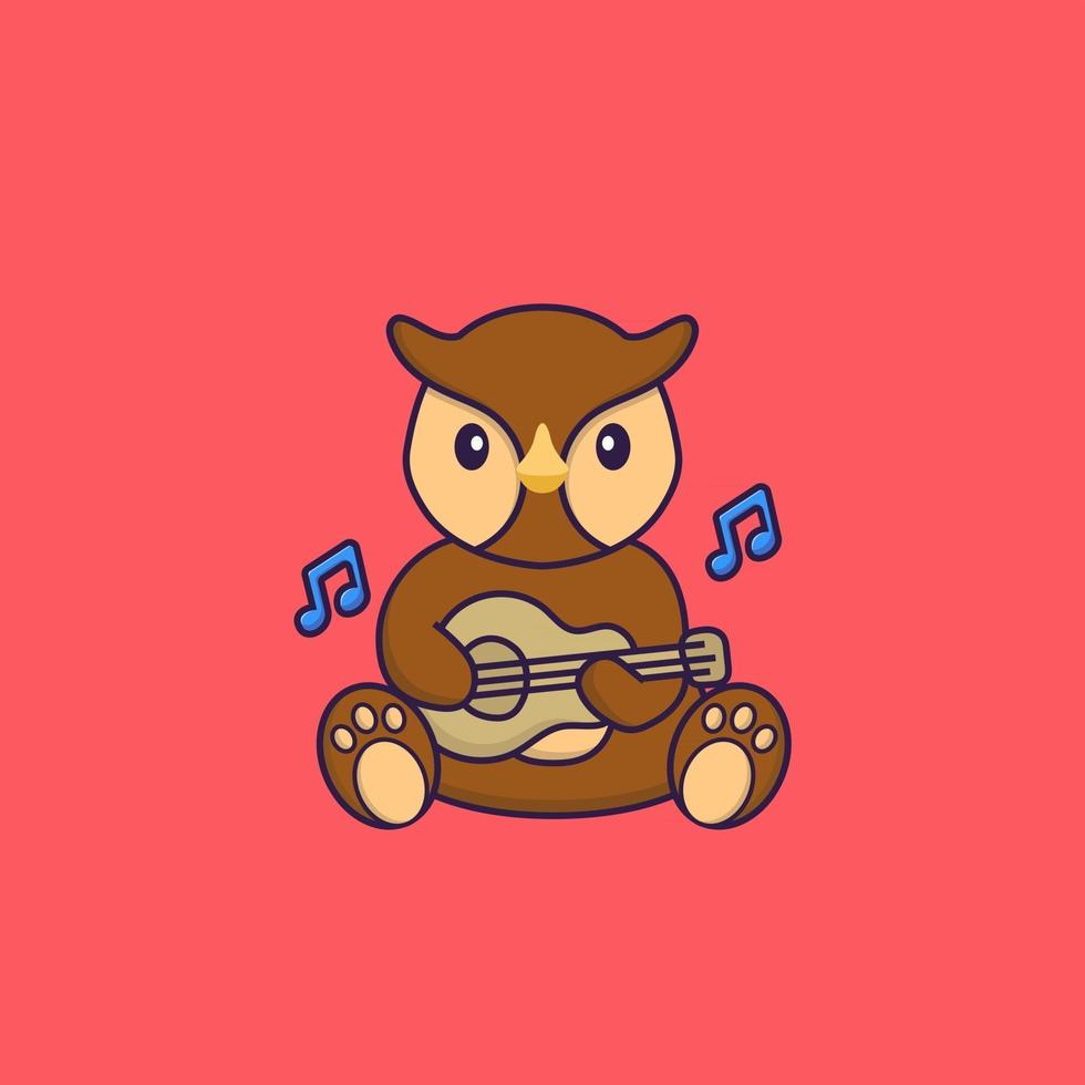 Cute owl playing guitar. Animal cartoon concept isolated. Can used for t-shirt, greeting card, invitation card or mascot. Flat Cartoon Style vector
