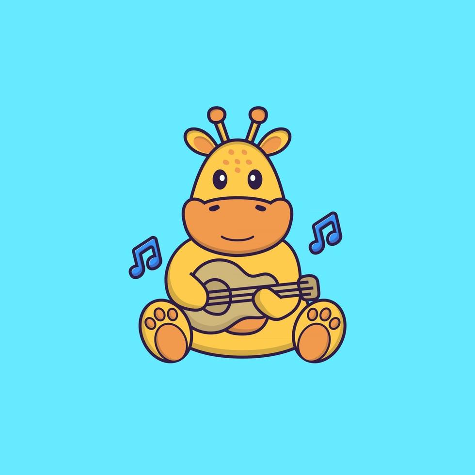 Cute giraffe playing guitar. Animal cartoon concept isolated. Can used for t-shirt, greeting card, invitation card or mascot. Flat Cartoon Style vector