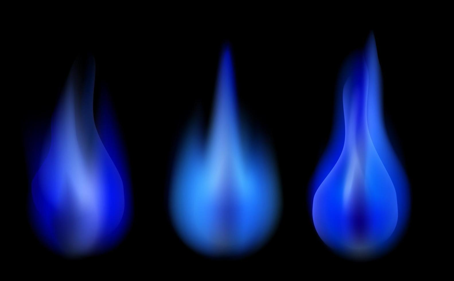 Set of Blue Burning Fire Flame vector