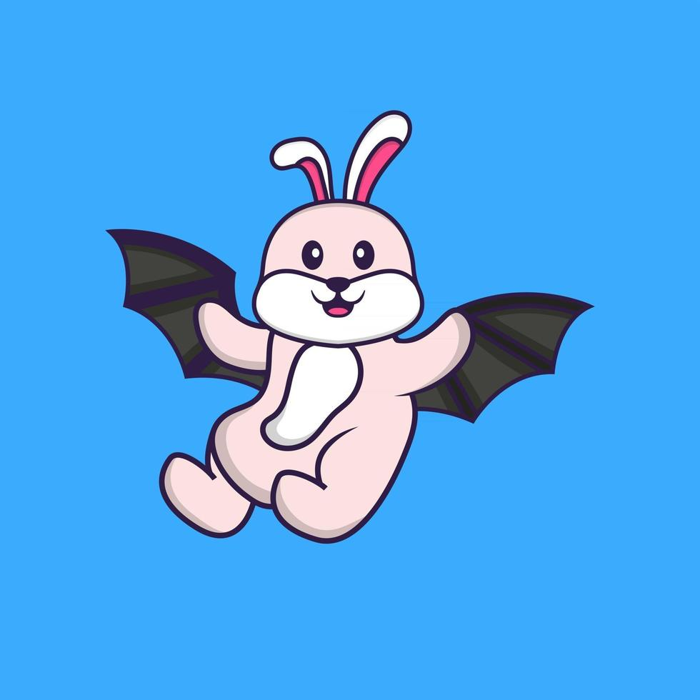 Cute rabbit is flying with wings. Animal cartoon concept isolated. Can used for t-shirt, greeting card, invitation card or mascot. Flat Cartoon Style vector
