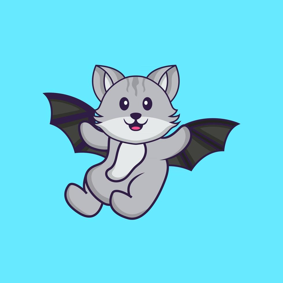 Cute cat is flying with wings. Animal cartoon concept isolated. Can used for t-shirt, greeting card, invitation card or mascot. Flat Cartoon Style vector