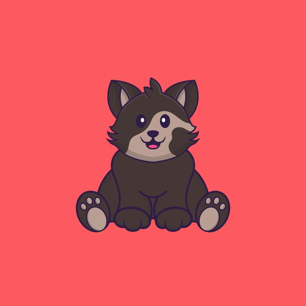 Cute cat is sitting. Animal cartoon concept isolated. Can used for t-shirt, greeting card, invitation card or mascot. Flat Cartoon Style vector