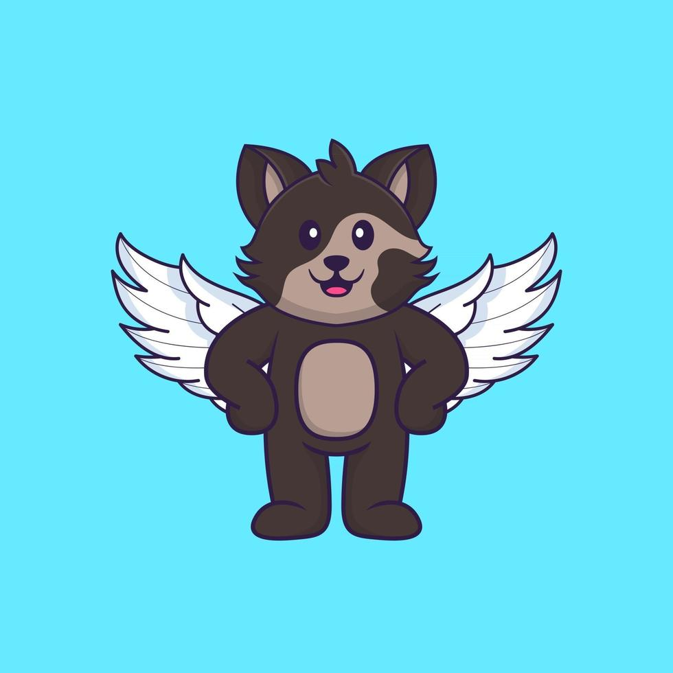 Cute cat using wings. Animal cartoon concept isolated. Can used for t-shirt, greeting card, invitation card or mascot. Flat Cartoon Style vector