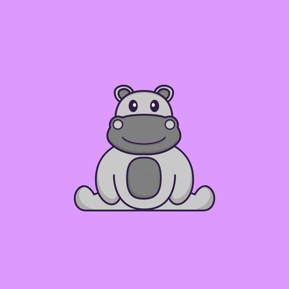 Cute hippopotamus is sitting. Animal cartoon concept isolated. Can used for t-shirt, greeting card, invitation card or mascot. Flat Cartoon Style vector
