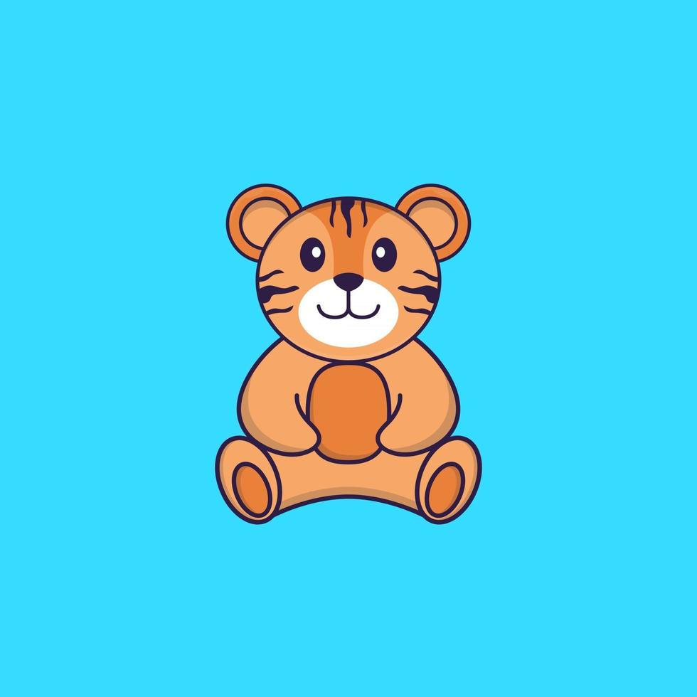 Cute tiger is sitting. Animal cartoon concept isolated. Can used for t-shirt, greeting card, invitation card or mascot. Flat Cartoon Style vector