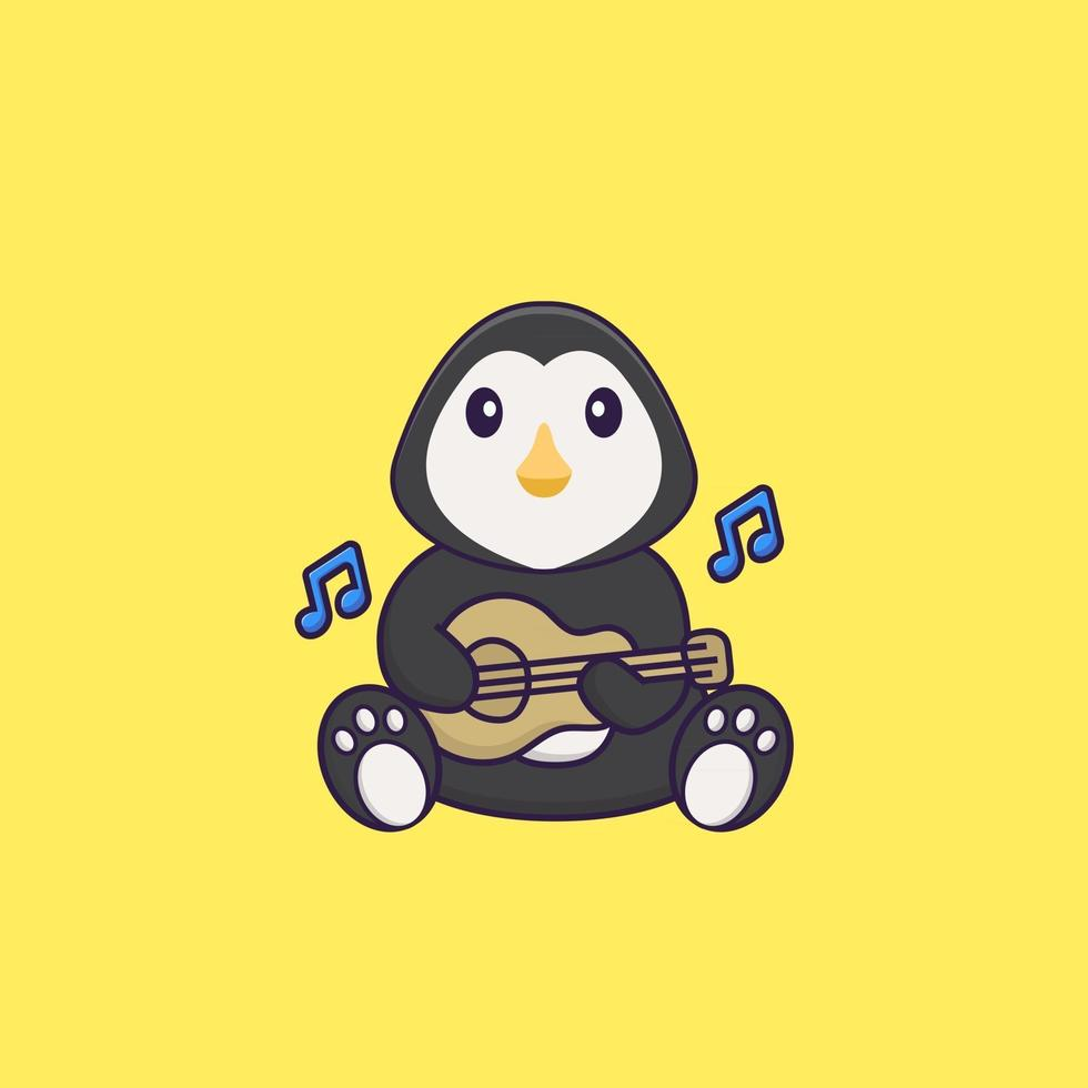 Cute penguin playing guitar. Animal cartoon concept isolated. Can used for t-shirt, greeting card, invitation card or mascot. Flat Cartoon Style vector