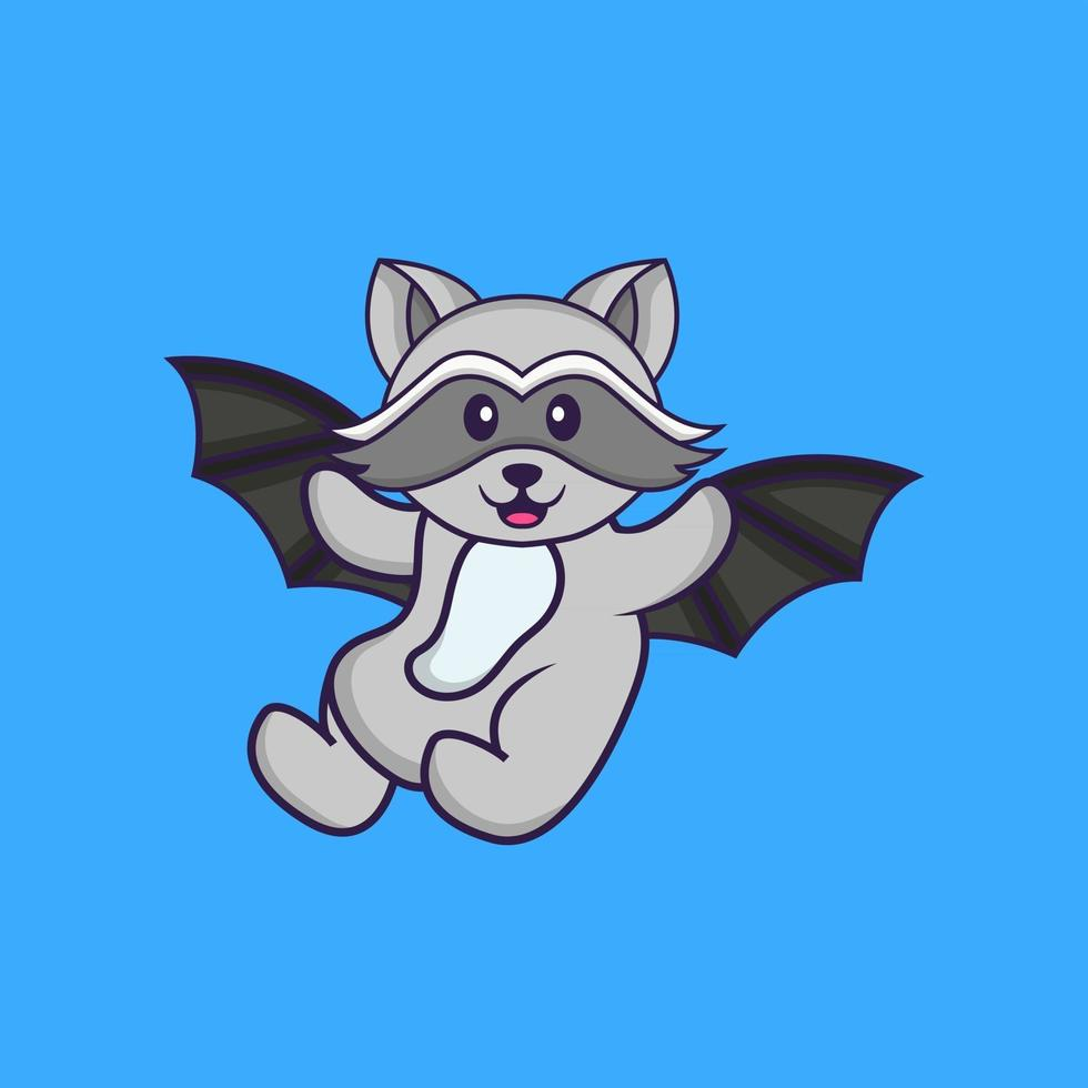 Cute racoon is flying with wings. Animal cartoon concept isolated. Can used for t-shirt, greeting card, invitation card or mascot. Flat Cartoon Style vector