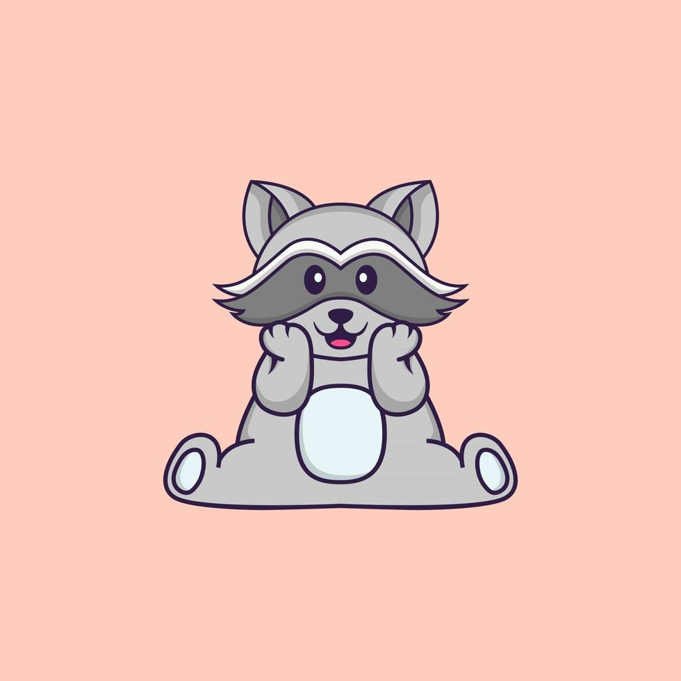 Cute racoon is sitting. Animal cartoon concept isolated. Can used for t-shirt, greeting card, invitation card or mascot. Flat Cartoon Style vector
