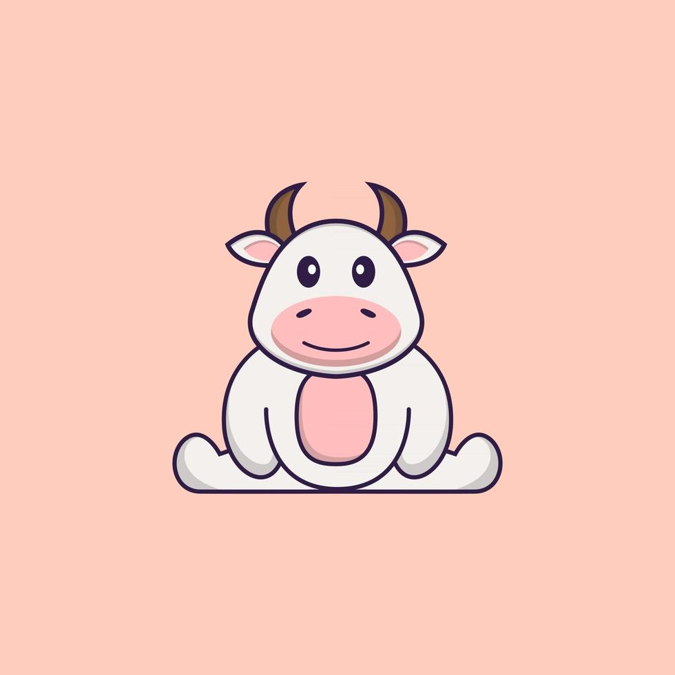 Cute cow is sitting. Animal cartoon concept isolated. Can used for t-shirt, greeting card, invitation card or mascot. Flat Cartoon Style vector