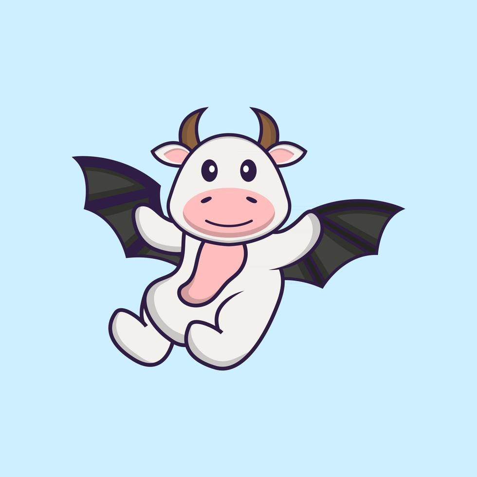 Cute cow is flying with wings. Animal cartoon concept isolated. Can used for t-shirt, greeting card, invitation card or mascot. Flat Cartoon Style vector