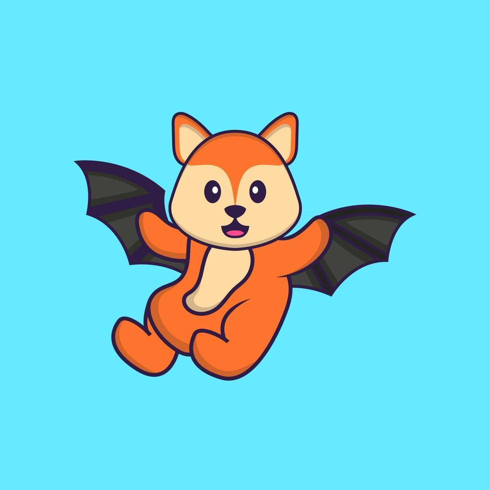 Cute fox is flying with wings. Animal cartoon concept isolated. Can used for t-shirt, greeting card, invitation card or mascot. Flat Cartoon Style vector