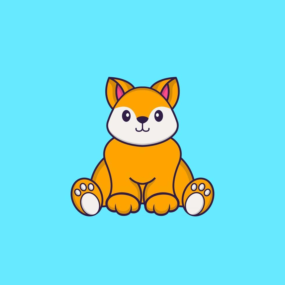 Cute fox is sitting. Animal cartoon concept isolated. Can used for t-shirt, greeting card, invitation card or mascot. Flat Cartoon Style vector