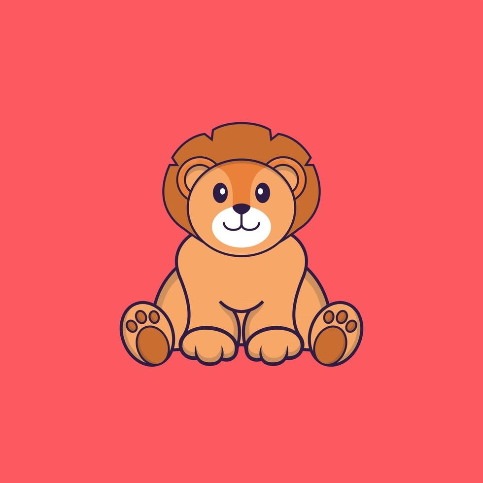Cute lion is sitting. Animal cartoon concept isolated. Can used for t-shirt, greeting card, invitation card or mascot. Flat Cartoon Style vector