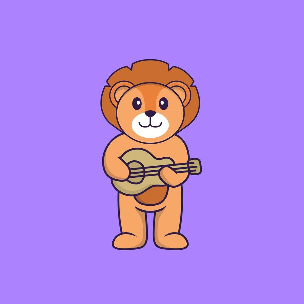 Cute lion playing guitar. Animal cartoon concept isolated. Can used for t-shirt, greeting card, invitation card or mascot. Flat Cartoon Style vector