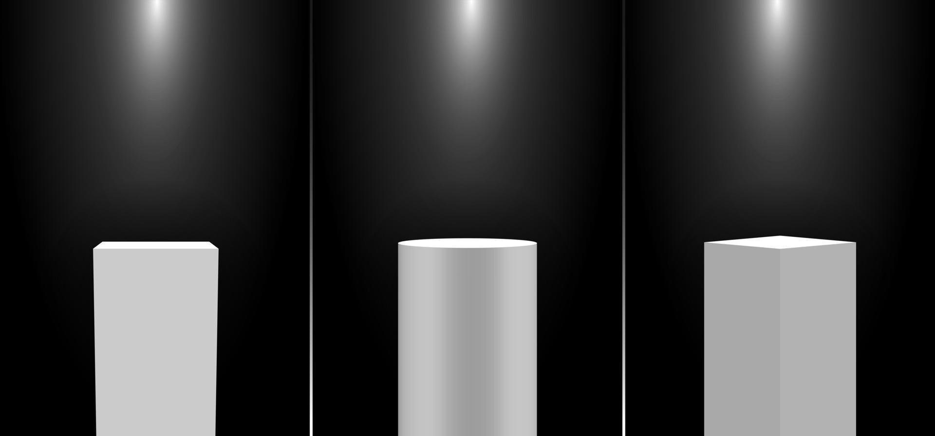 Set of 3D realistic white pedestal podium exhibition display gallery blank product stands on black background with lighting vector