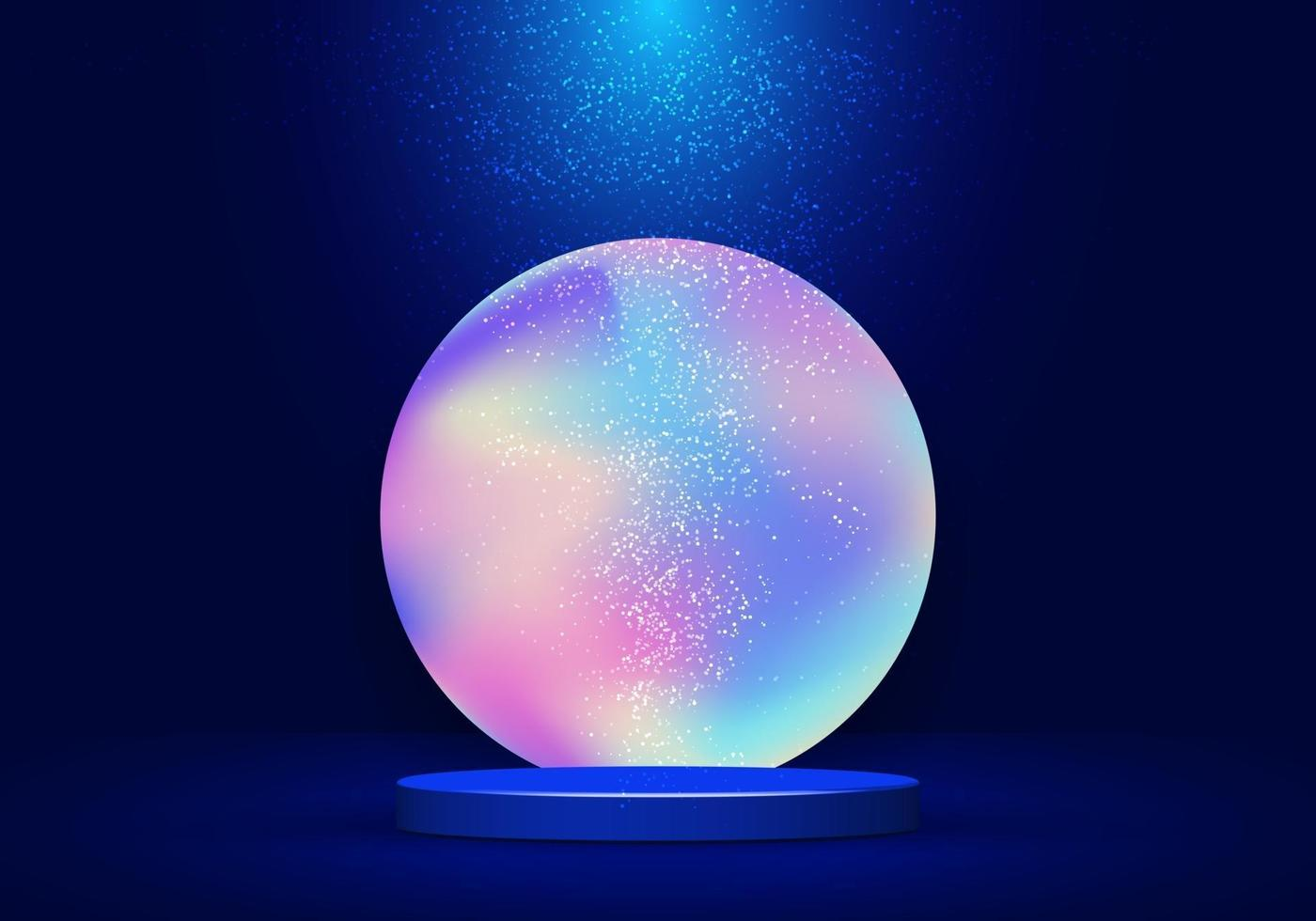 3D realistic blue pedestal with vibrant fluid circle backdrop and lighting dust on dark blue background vector