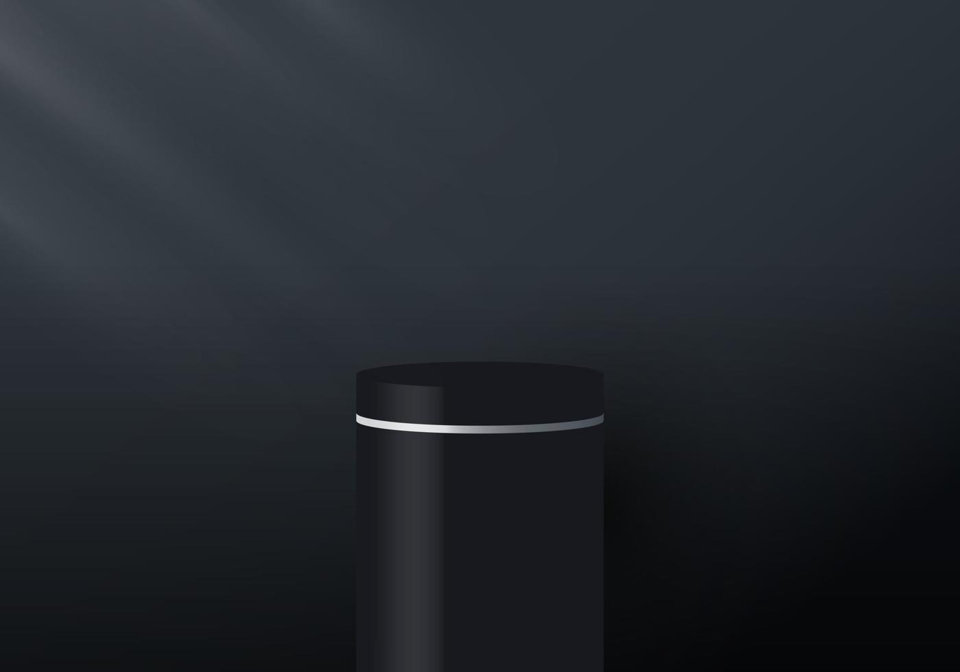 3D realistic black and white pedestal display on dark background with lighting vector