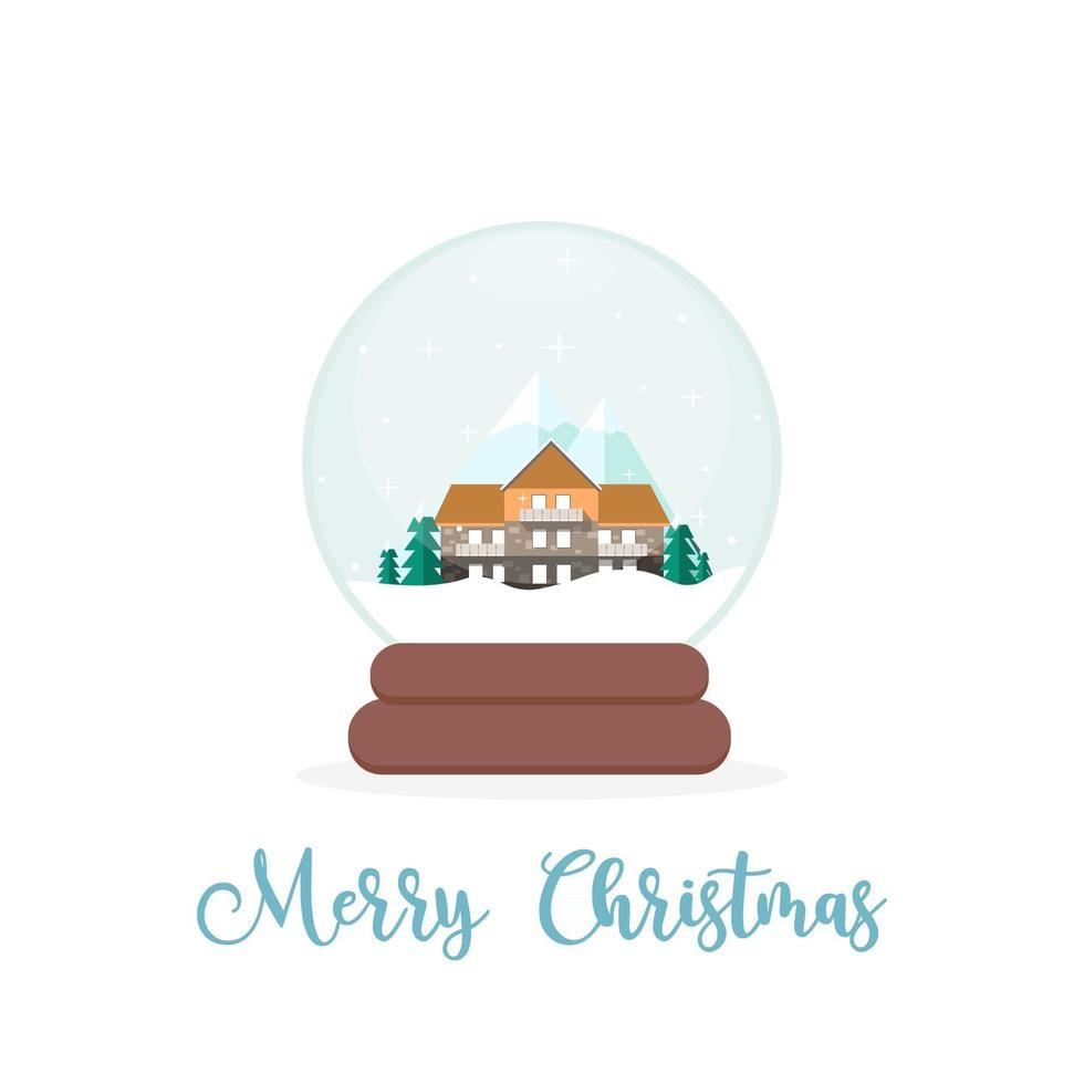Cute House, Mountains and Trees Inside of a Snow Globe vector
