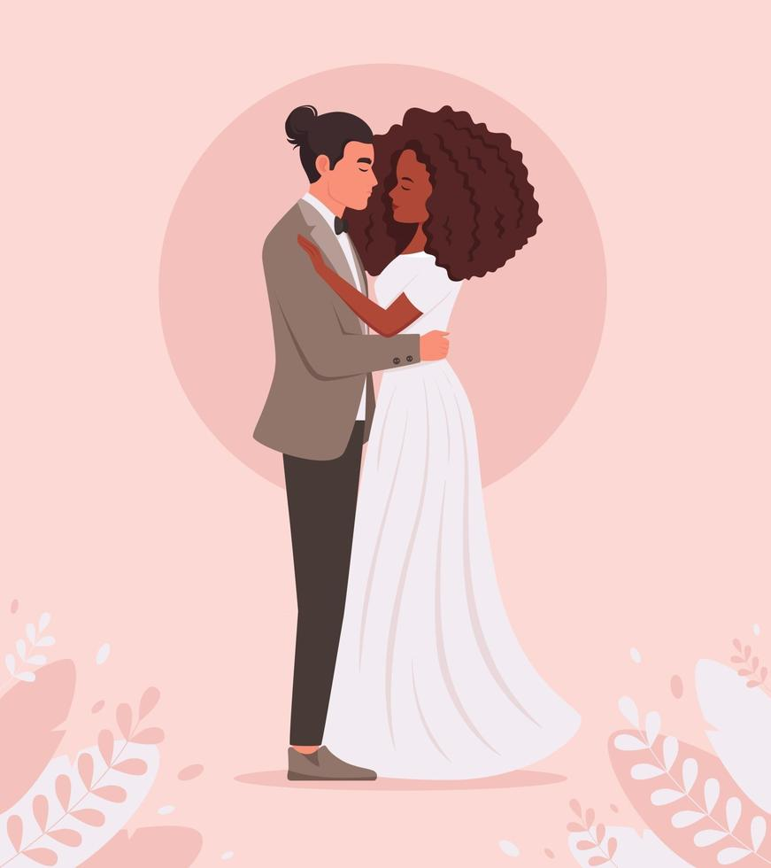 Basic Wedding couple. Man and black woman getting married, newlyweds. Wedding portrait. Multicultural family. vector
