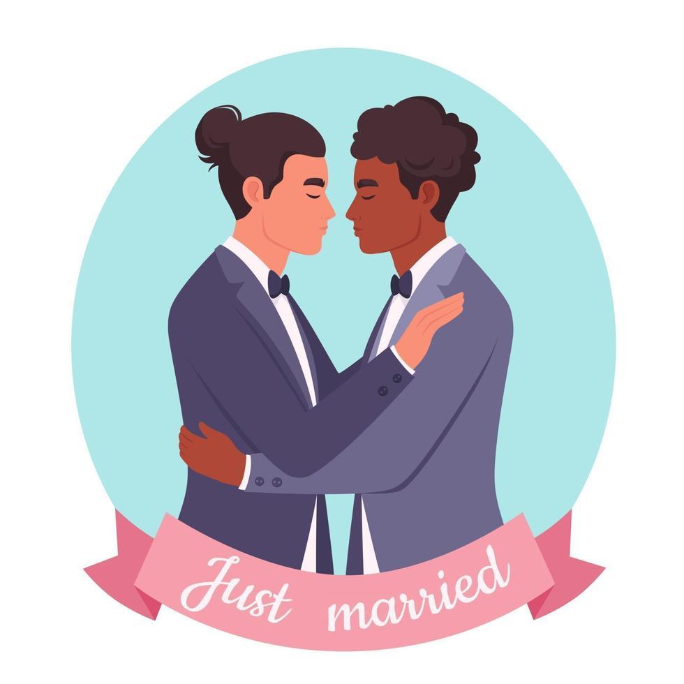Gay couple hugging. LGBT wedding, pride concept. Multicultural couple vector