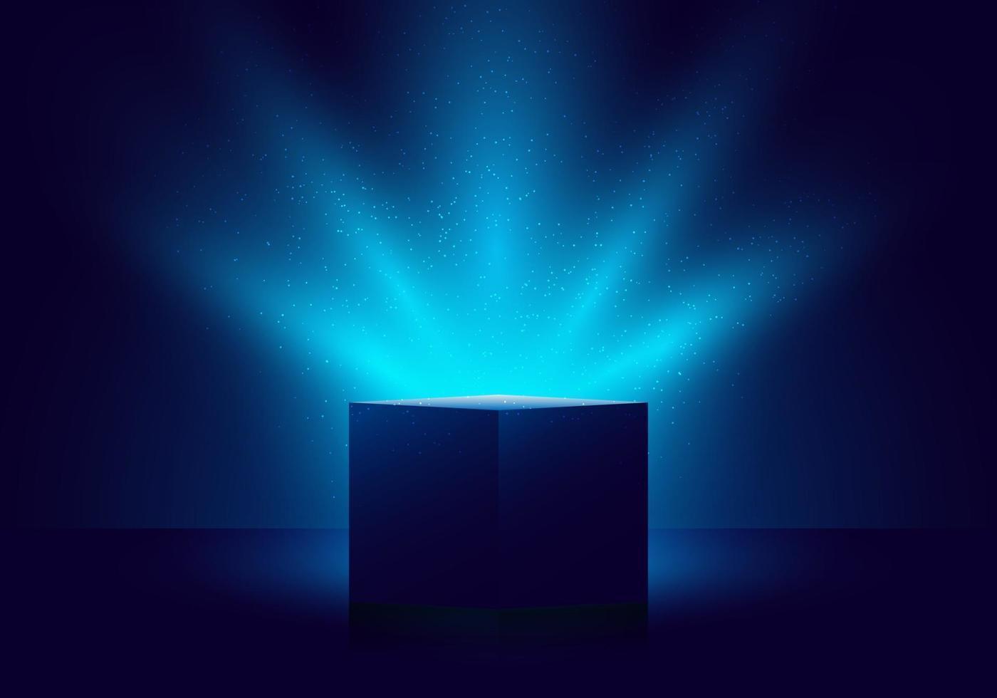 3D blue mystery box with Illuminated lighting glitter on dark background vector
