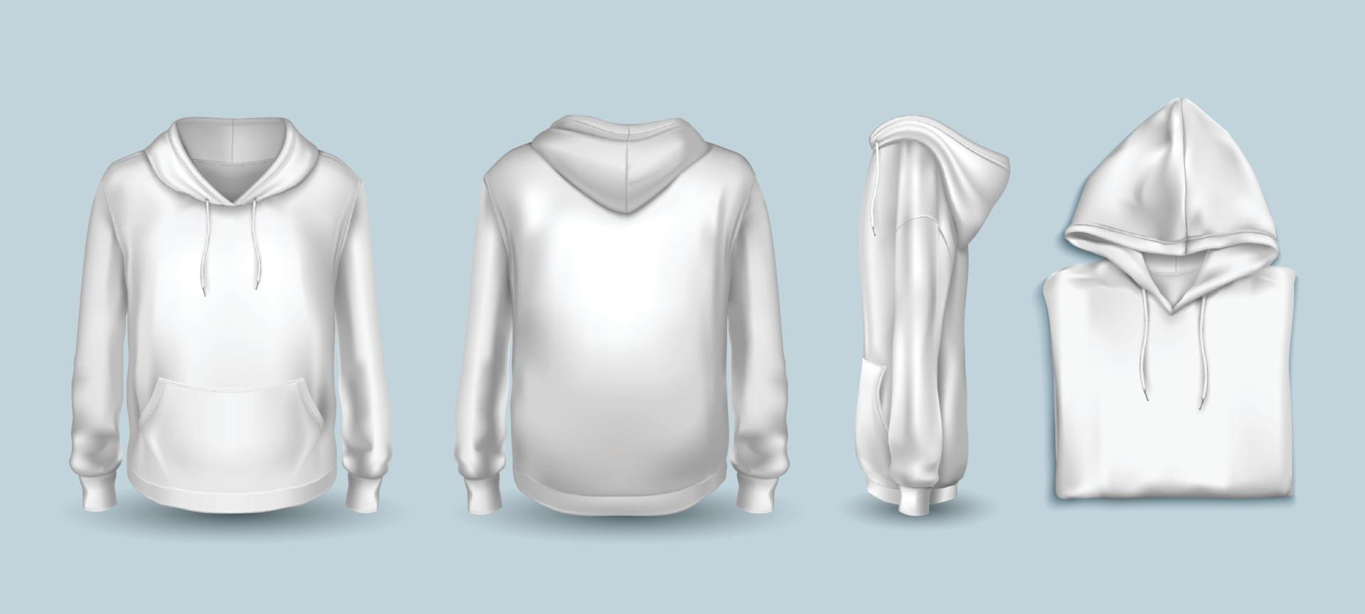 White Hoodie Sweatshirt Template Set vector