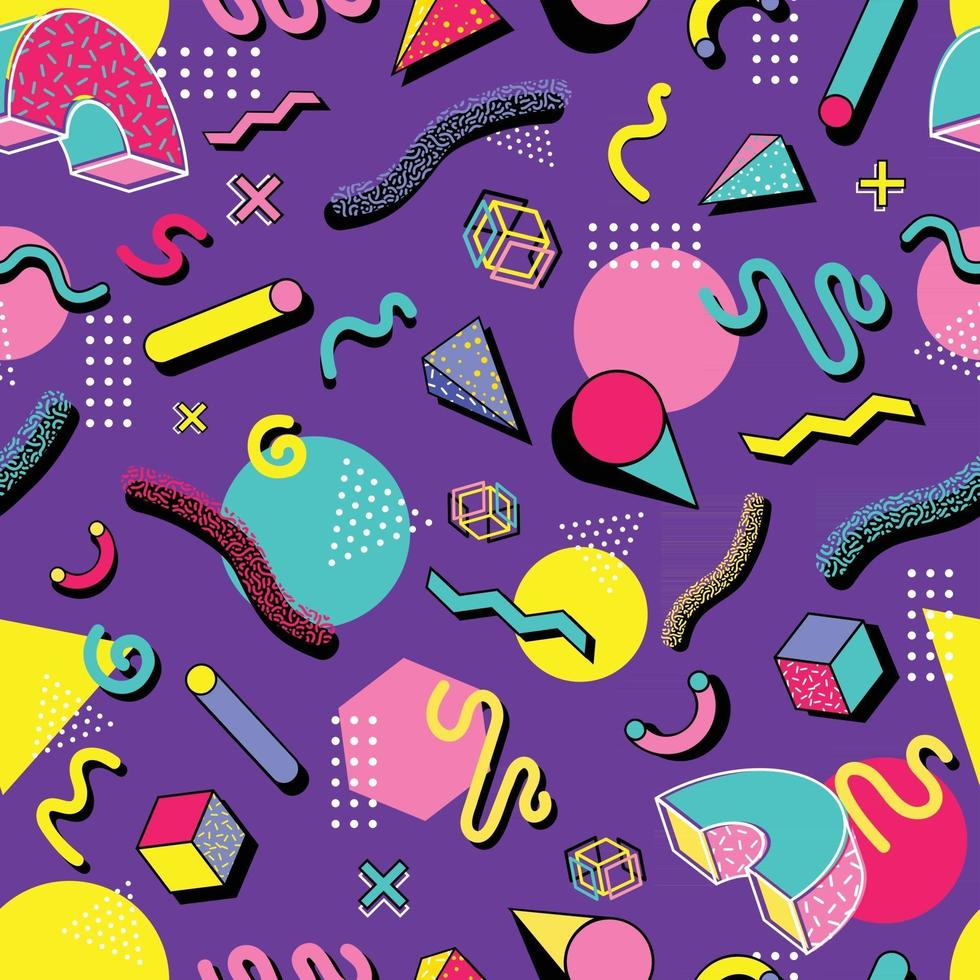 Colorful 90s Seamless Pattern vector