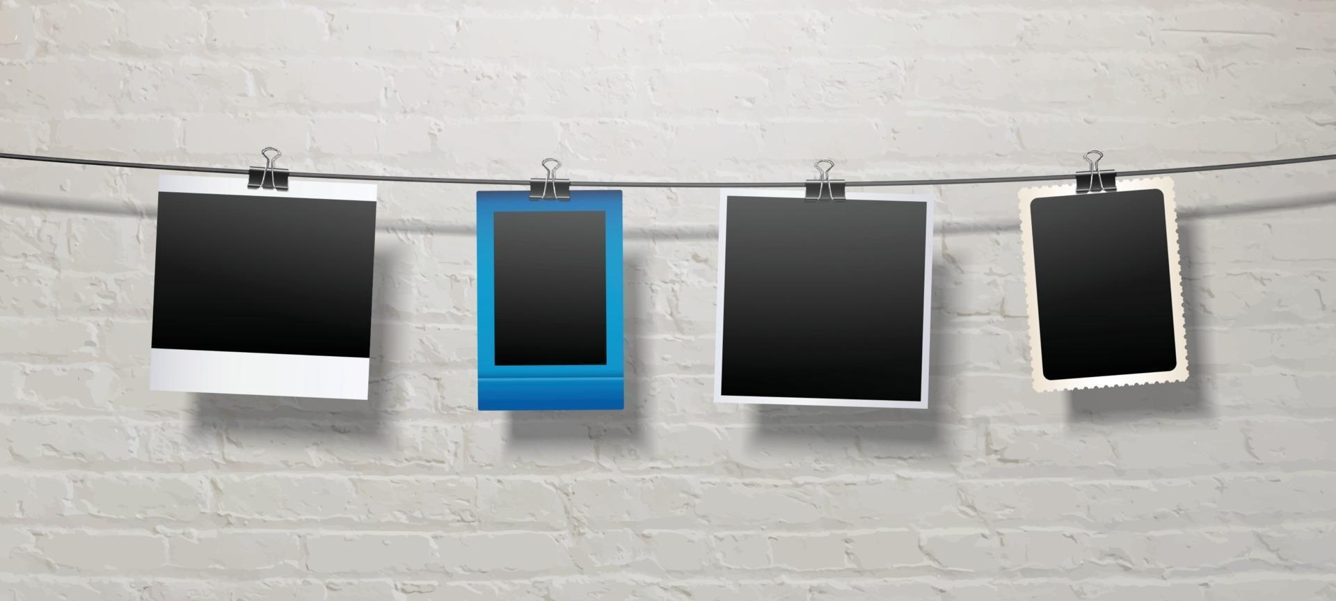 Blank Polaroid Papers Hanging on a String Template vector