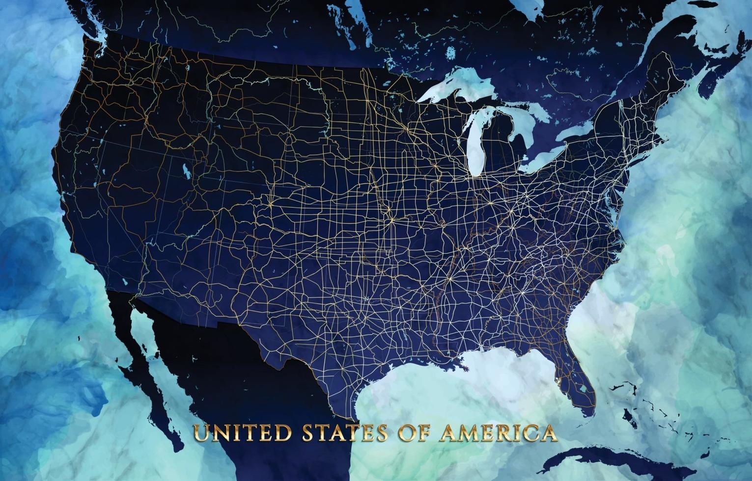 United States Of America in World Map Background vector