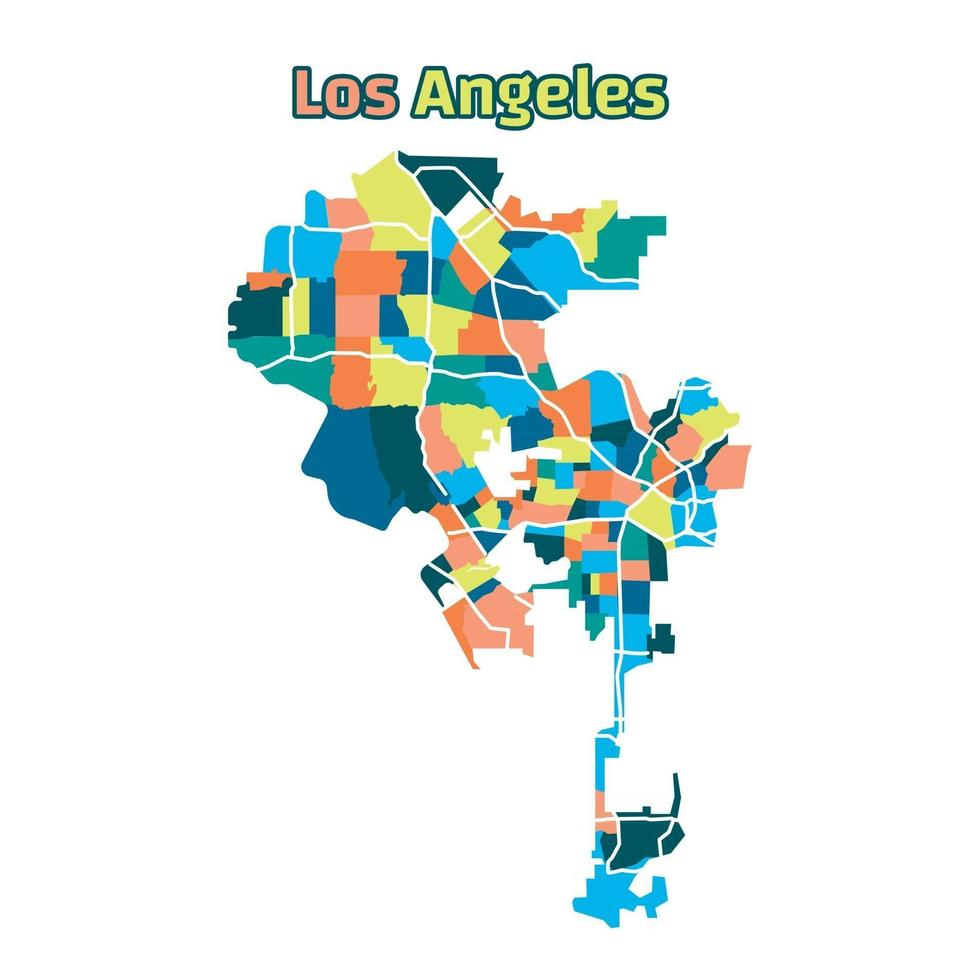 Colorful Los Angeles Map vector