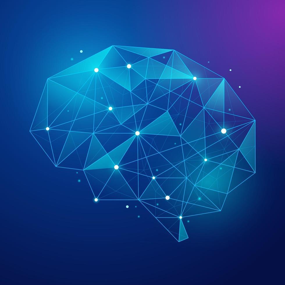 Lowpoly Modern Brain Neuron with Light vector