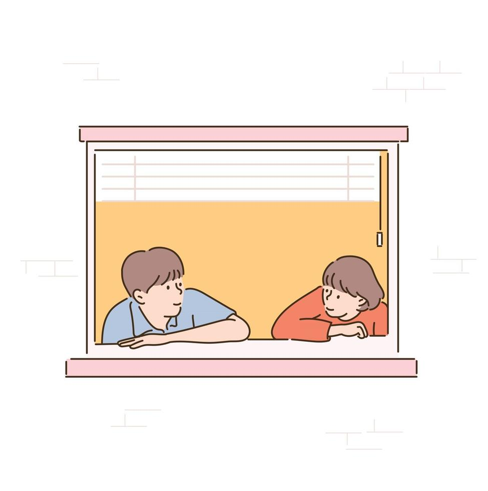 A couple is leaning against the window and looking at each other. hand drawn style vector design illustrations.