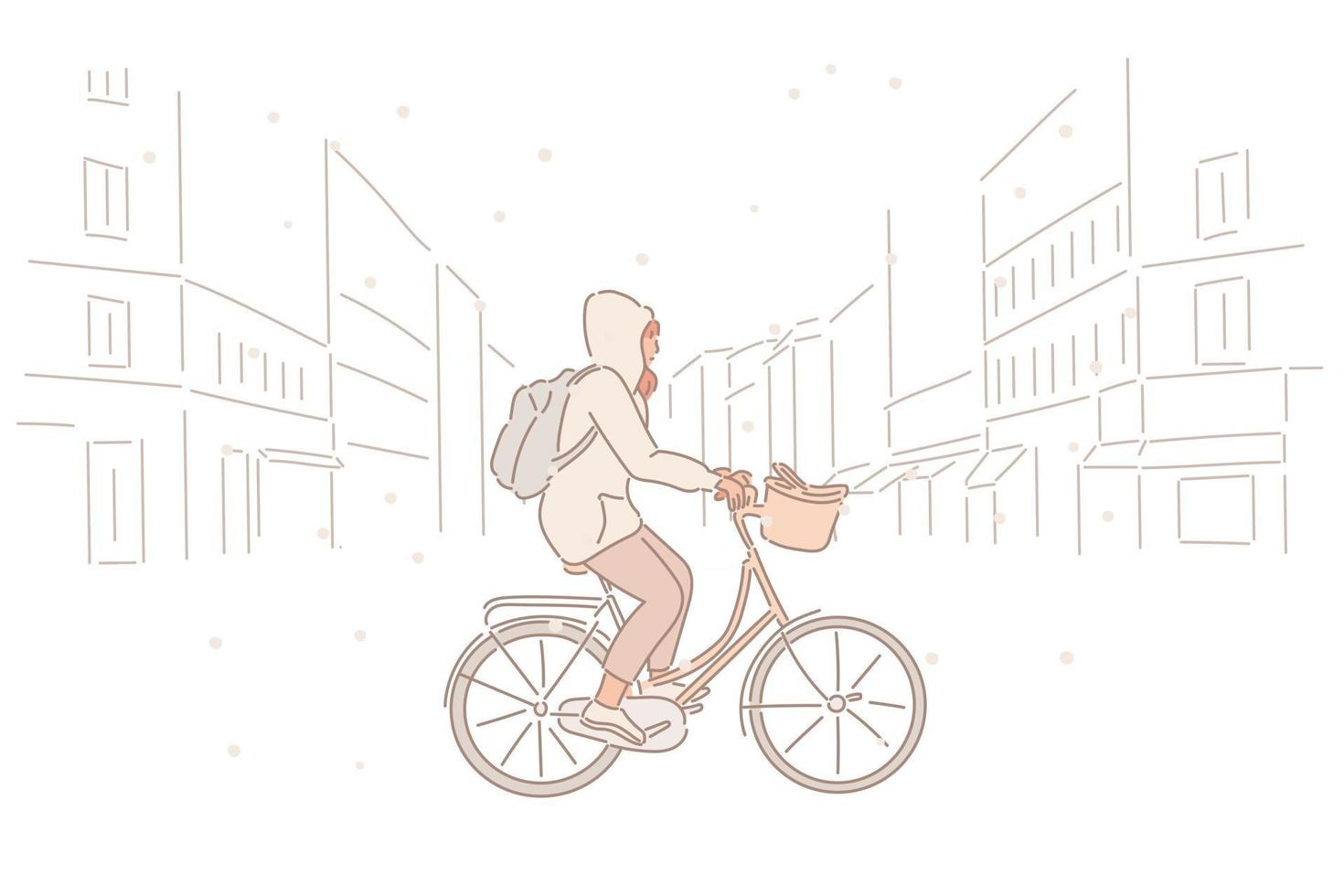 A woman is riding a bicycle through the street on a snowy day. hand drawn style vector design illustrations.