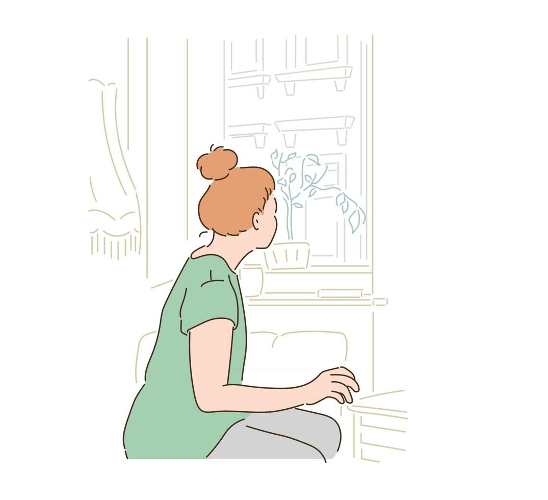 A woman is looking out the window. hand drawn style vector design illustrations.