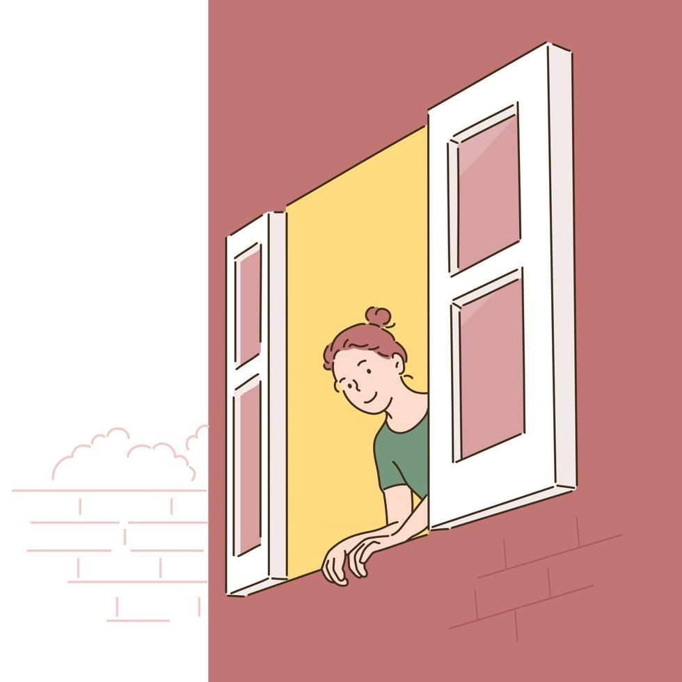 A woman is opening the window and looking out. hand drawn style vector design illustrations.