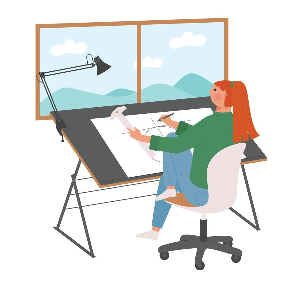 A woman is sitting at a design table and drawing a drawing. vector