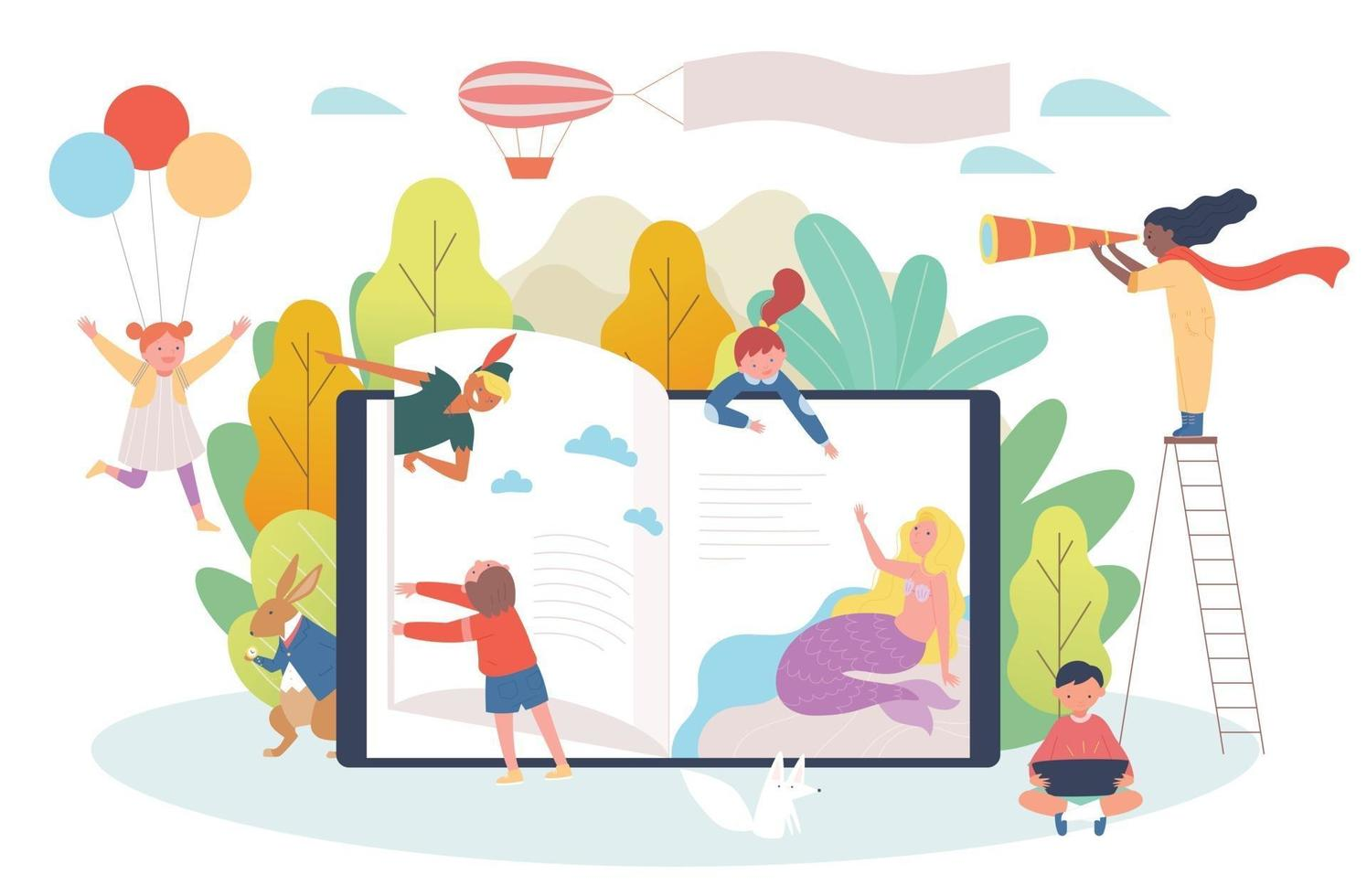 Digital book concept. Children flip through the bookshelves of huge digital devices and characters from fairy tales are popping out. vector