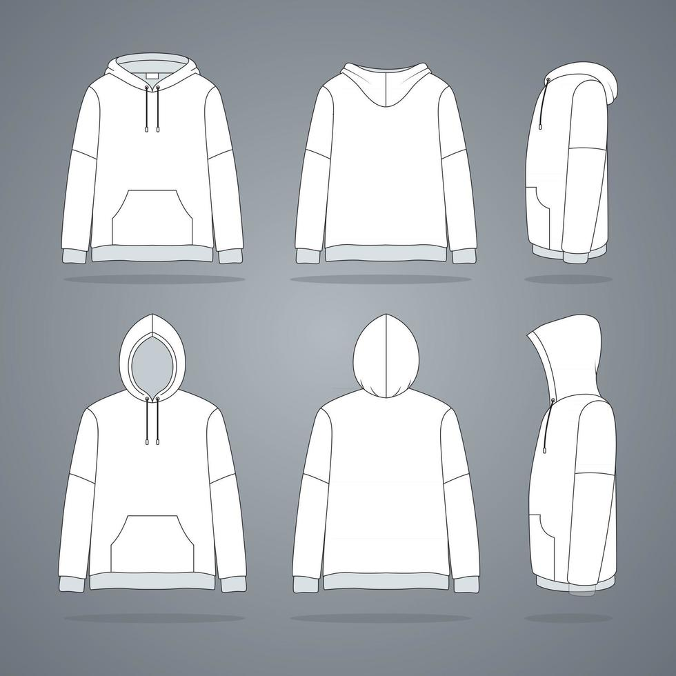 Clothing White Hoodie Jacket Template vector
