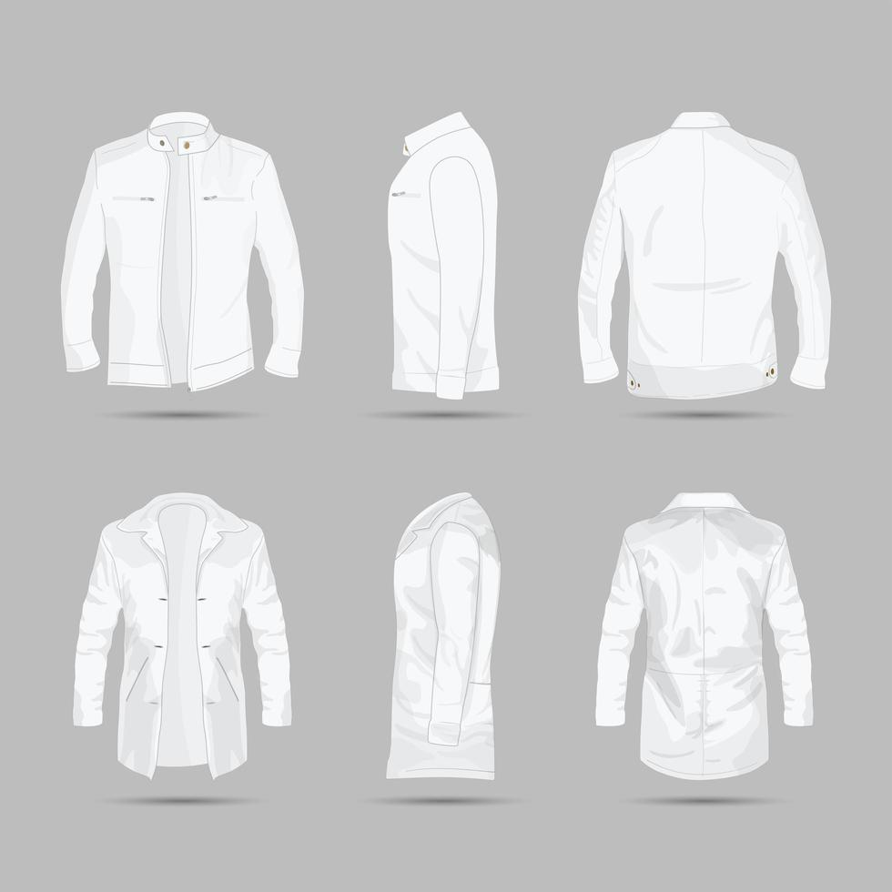 Mens Leather Motorcycle Jacket Template vector