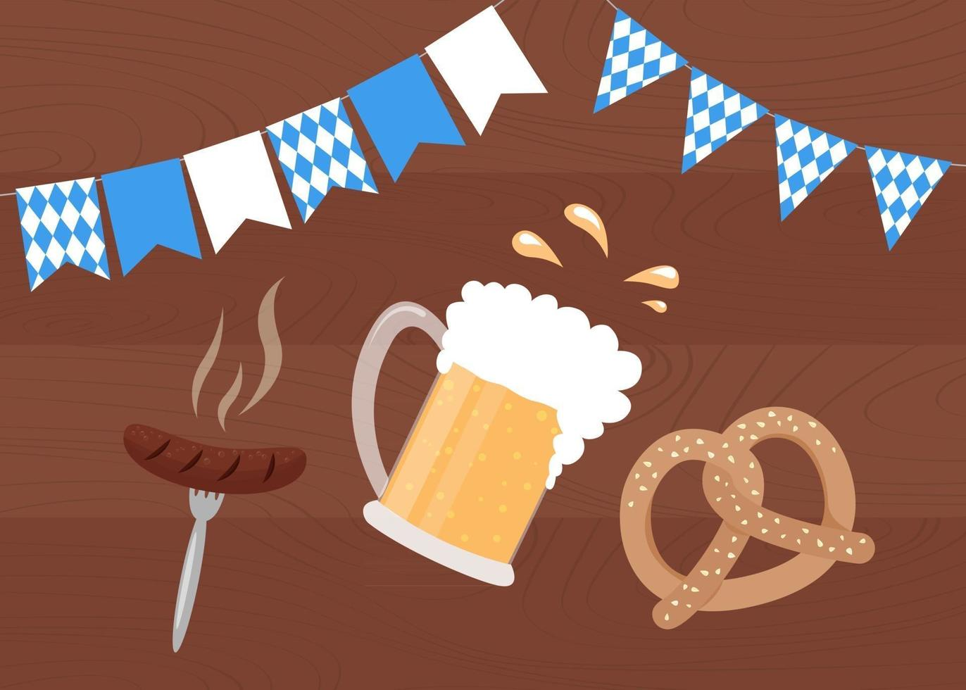 Oktoberfest food on wooden background. Beer mug, pretzel and bavarian sausage. Oktoberfest poster with traditional flags. Vector illustration