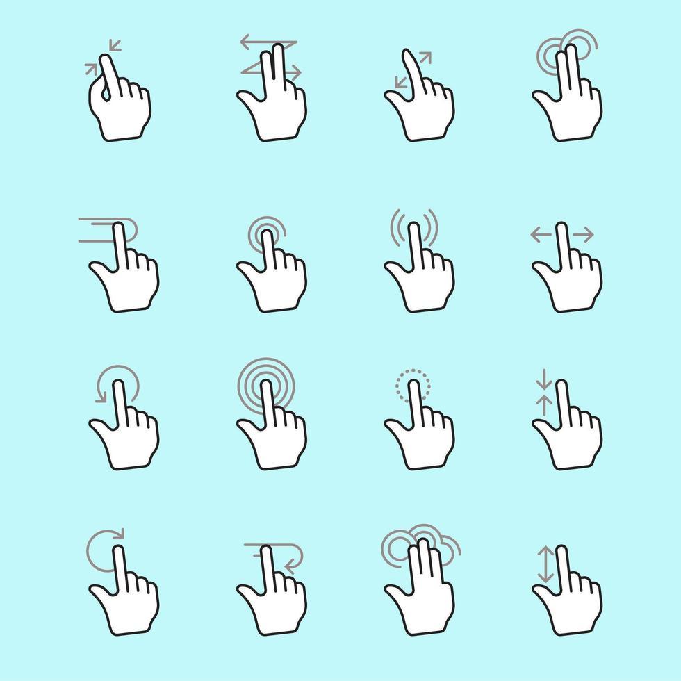 Computer Mouse Click Cursor Hand Icons Set vector