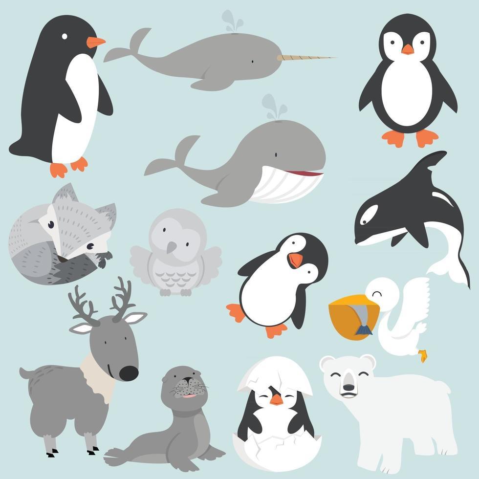 Artic animals cartoon collection big set vector