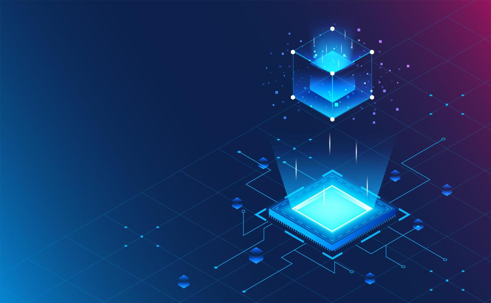 Isometric processor block chain on grid background.Futuristic concept.vector and illustration vector