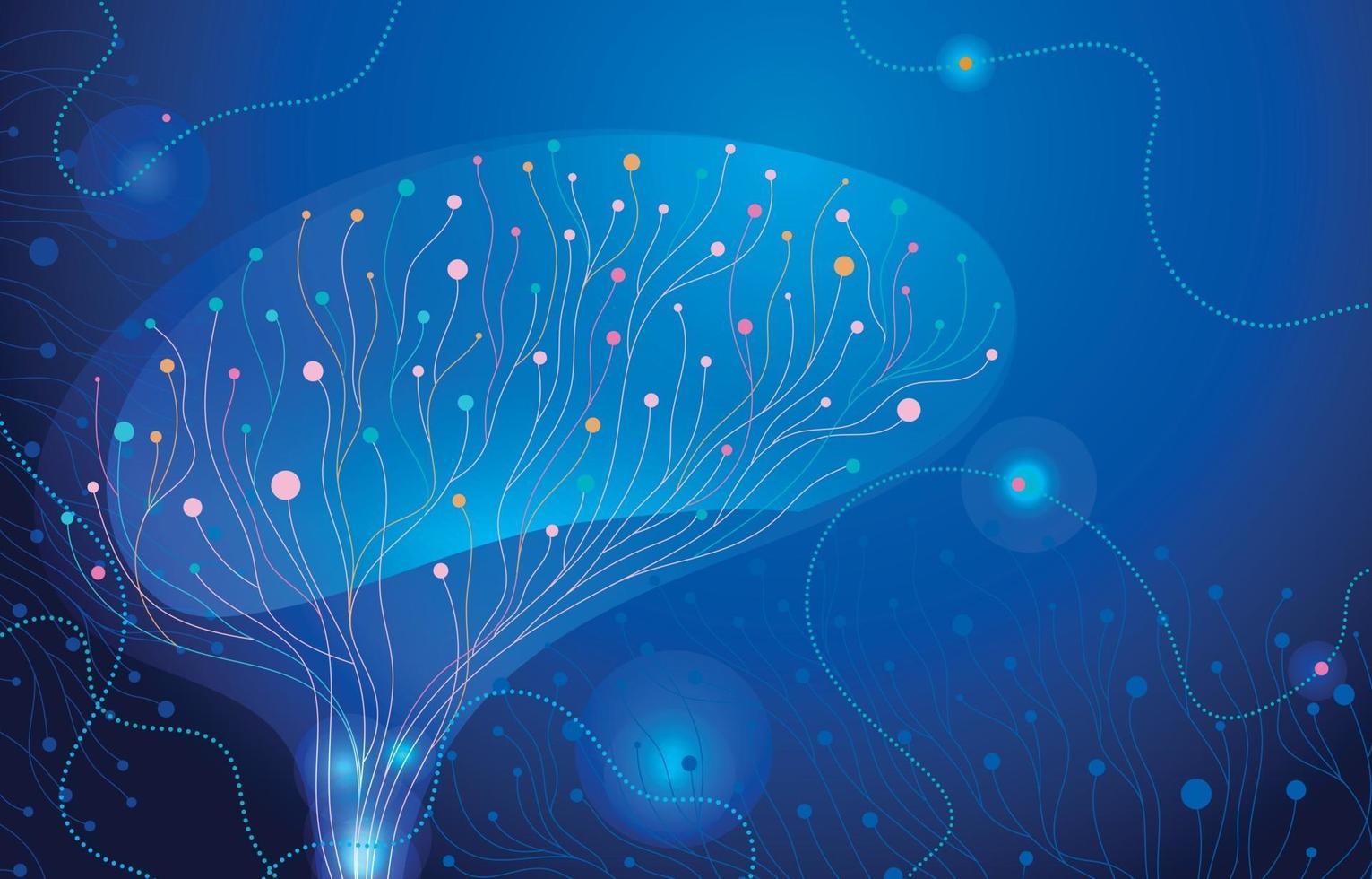 Colorful Brain Neuron Concept Background vector