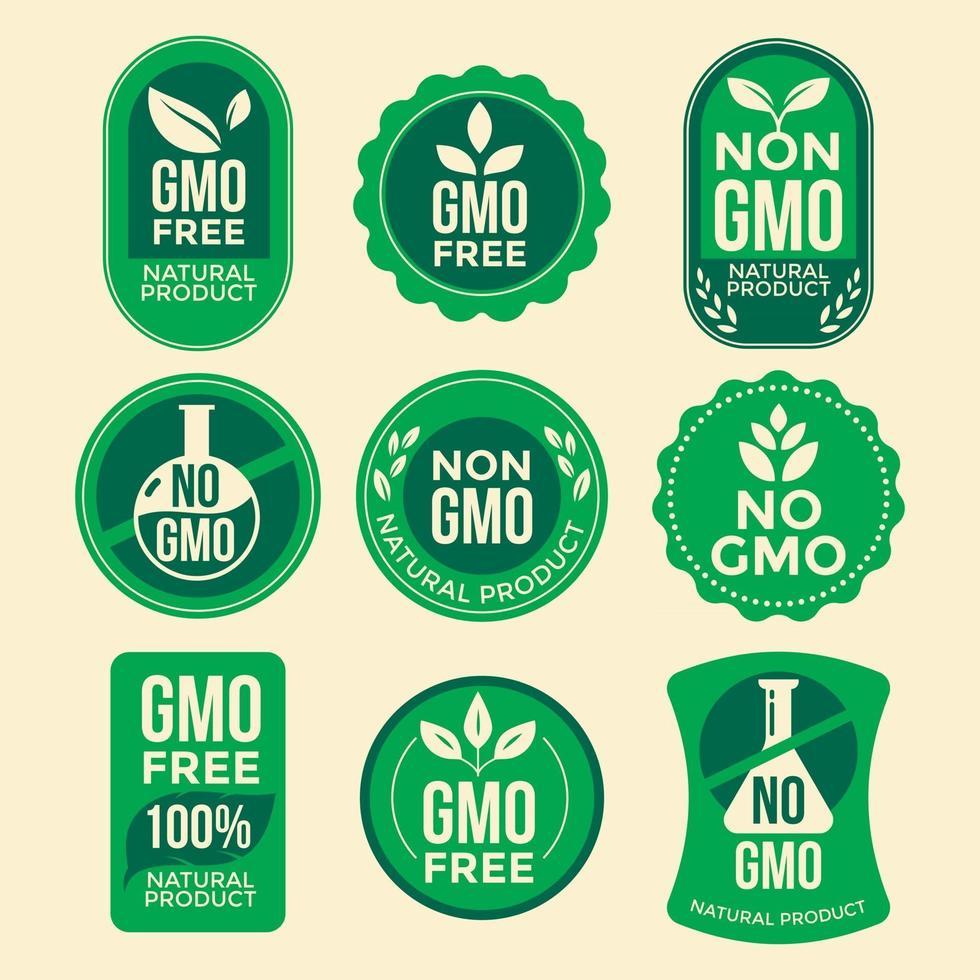 Set of Green GMO Free Emblems vector