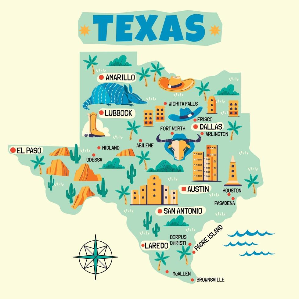 Hand Drawn Illustration of Texas Map with Tourist Destinations vector