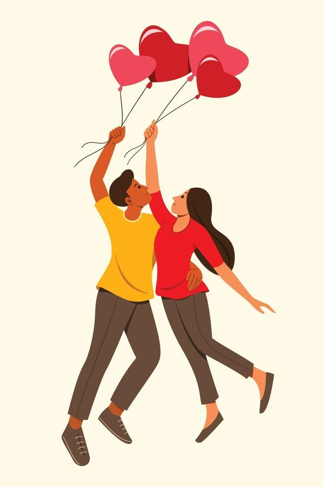 The Lover Man and Woman Hold the Heart Shaped Balloon to Floating. vector