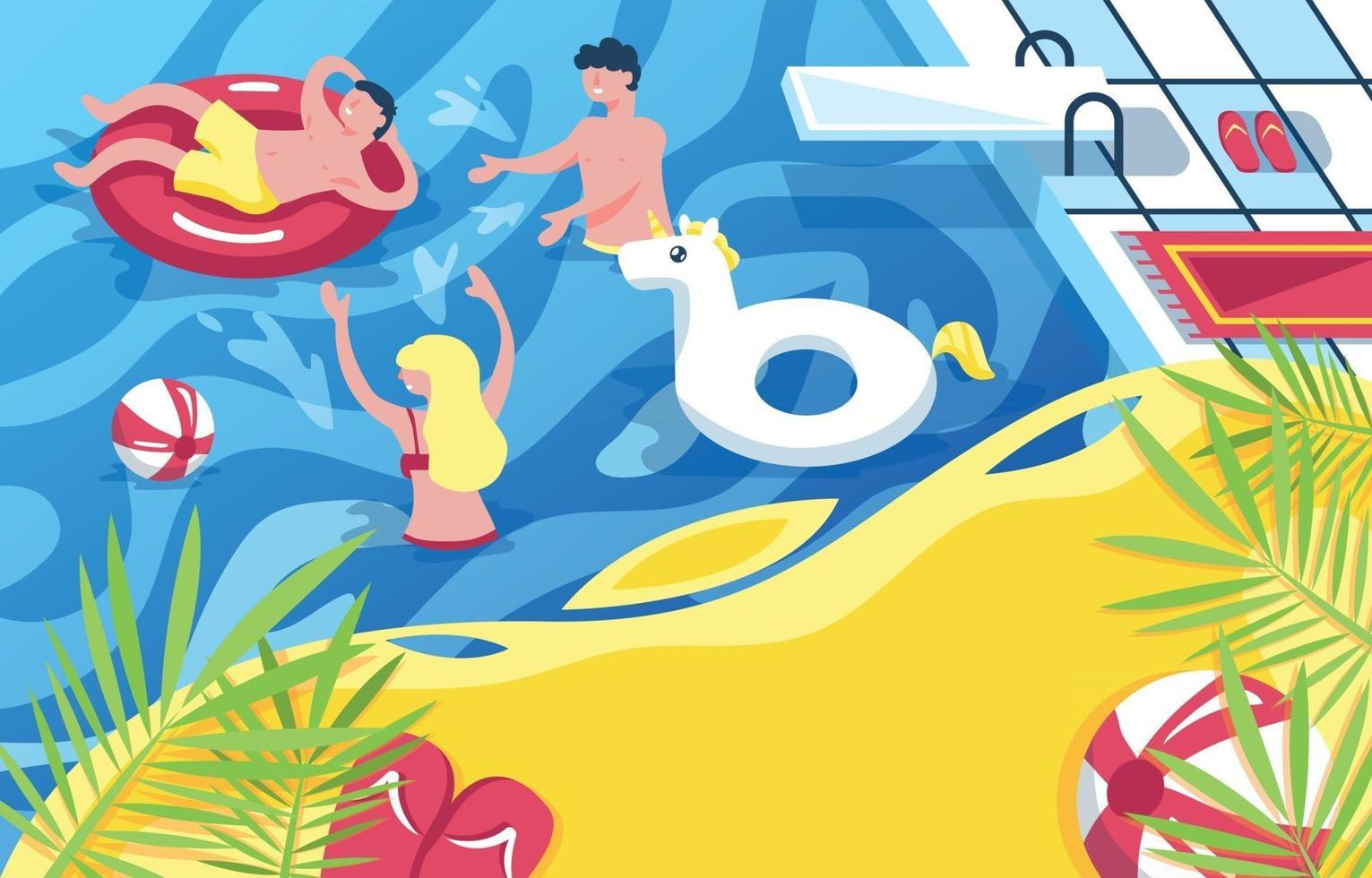 People Having Fun in the Pool Background vector